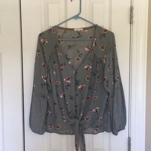 Floral button and tie blouse